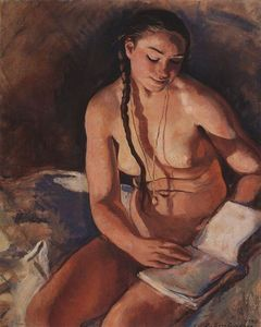 Les oeuvres picturales que vous aimez - Page 8 Zinaida-Serebriakova-Nude-with-Book--S