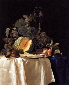 Willem Van Aelst - Nature morte avec fruits et aux Cristal pot