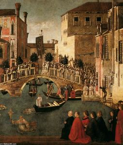 Gentile Bellini - Miracle of la croix à l Pont of San Lorenzo ( détail )