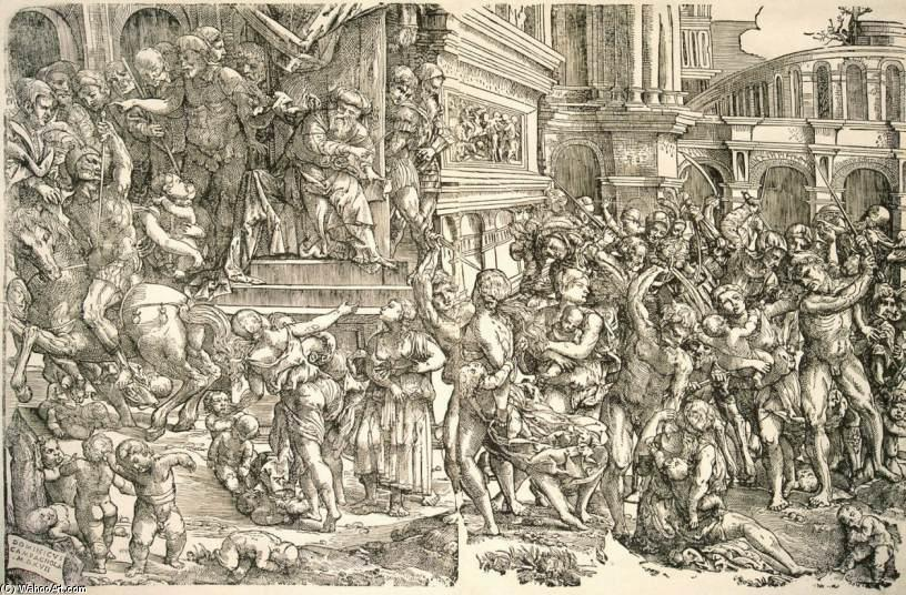 Massacre des Innocents, bois de Domenico Campagnola (1500-1564, Italy)