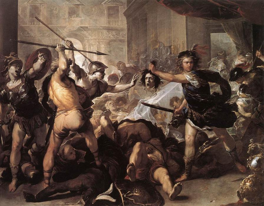 Persée Fighting Phinée et ses compagnons, 1670 de Luca Giordano (1634-1705, Italy) | Reproductions D'œuvres D'art Luca Giordano | WahooArt.com