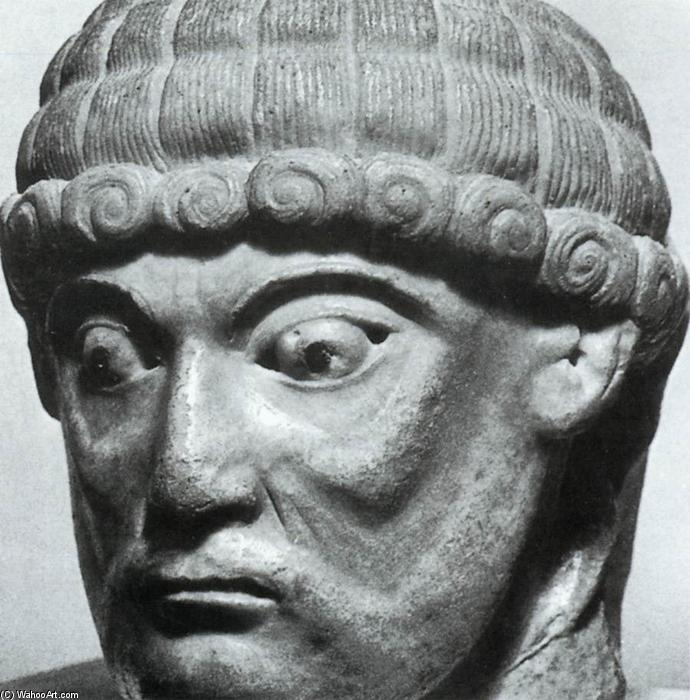 Homme Head, marbre de Master Of Cabestany (1130-1180, Italy)