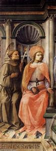 Fra Filippo Lippi - madonna `enthroned` avec saints détail