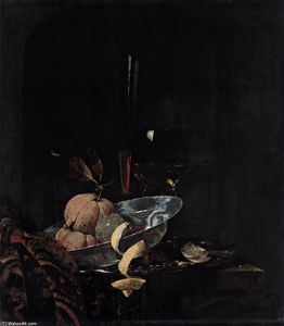 Willem Kalf - Nature morte aux fruits, Verrerie, et un Wanli Bowl