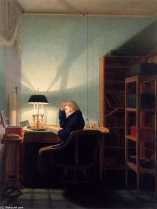 Georg Friedrich Kersting - Man lecture au Lamplight