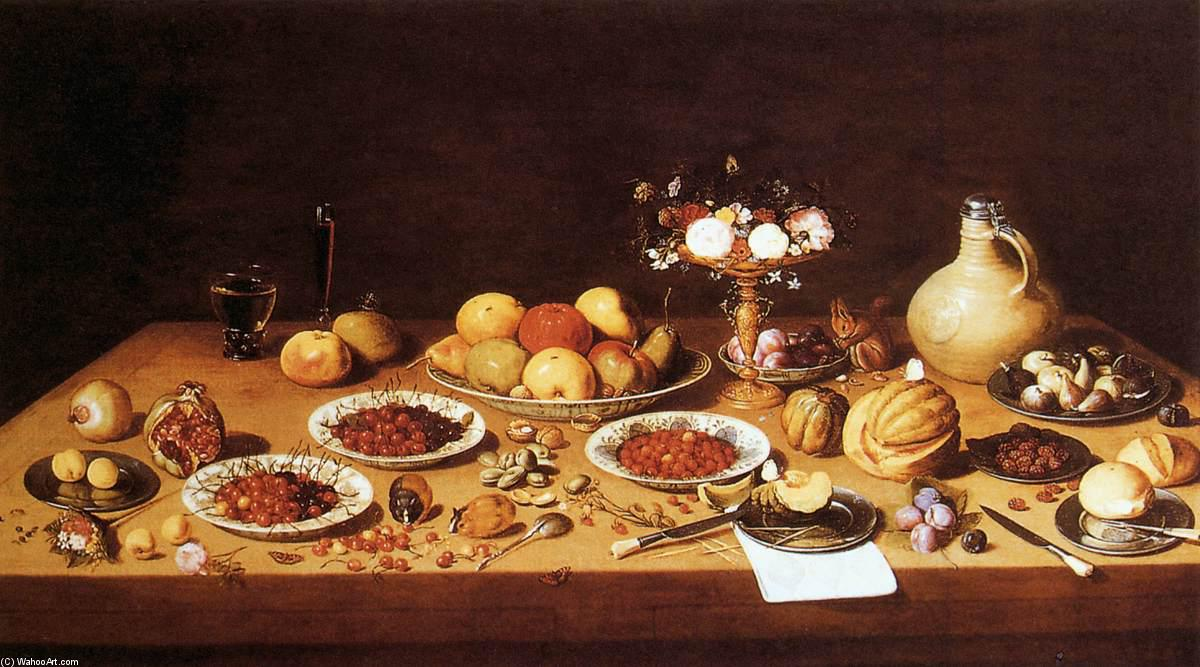 Still Life With A Chinese Vase, Grapes, Plums, Raspberries And A Peach On A Carved Wooden Tabletop