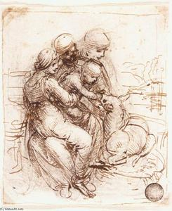 Leonardo Da Vinci - Étudier of r Anne , Mary , christ Enfant et le young st-jean