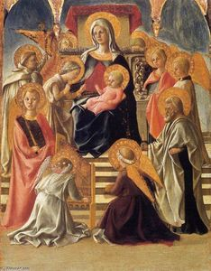 Fra Filippo Lippi - madonna et l'enfant `enthroned` avec saints