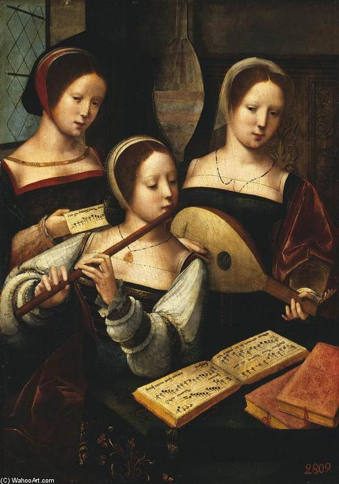 Concert of Femmes, 1530 de Master Of Female Half Lengths | Reproductions D'art Sur Toile | WahooArt.com