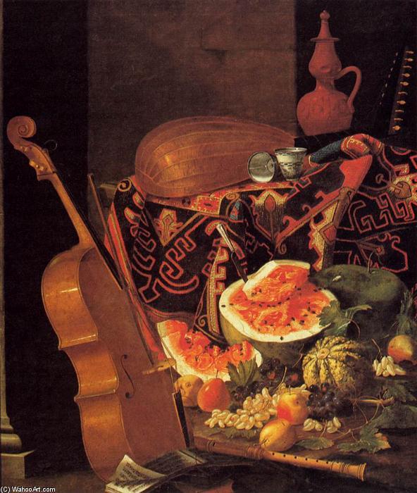 still life avec instruments de musique et fruit huile sur toile de cristoforo munari 1667 1720. Black Bedroom Furniture Sets. Home Design Ideas