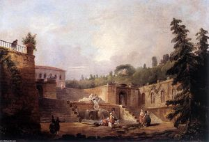 Hubert Robert - Fountain sur une Palais Terrace