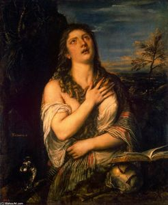 Tiziano Vecellio (Titian) - Pénitent st  marie  madeleine