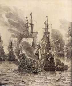 Willem Van De Velde The Elder - Les Battle of Livorno ( détail )
