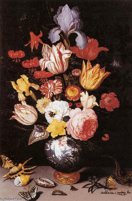 fleur nature morte à conque et aux insectes de Balthasar Van Der Ast  (1593,1657,