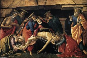 Sandro Botticelli - Lamentation over le mort jésus christ avec Saints