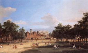 Giovanni Antonio Canal (Canaletto) - Londres: la vieille Horse Guards et Banqueting Hall, de St James Park