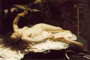 Gustave Courbet - femme a perroquet