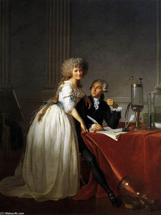 Portrait d Antoine-Laurent et Marie-Anne Lavoisier, 1788 de Jacques Louis David (1748-1800, France) | Reproductions De Peintures Célèbres | WahooArt.com