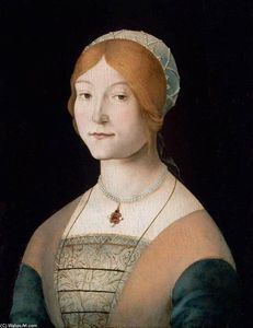 Lorenzo Costa (The Elder) - portrait d'un femme a perle collier