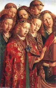 Jan Van Eyck - Le Retable de Gand: Chanter anges (détail)