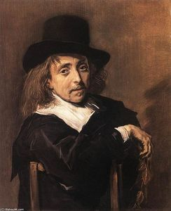 Frans Hals - assis homme la tenue une Direction