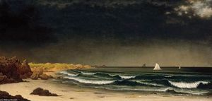 Martin Johnson Heade - approche tempête plage à Newport Easton
