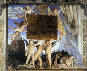 Andrea Mantegna - Inscription avec Putti