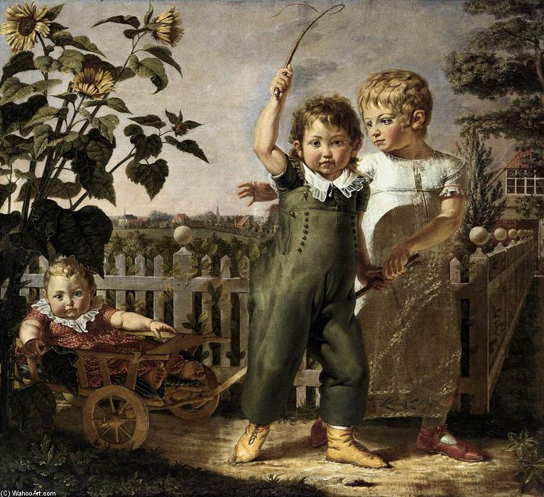le hülsenbeck enfants , 1805 de Philipp Otto Runge (1777-1810, Germany) | Copie Tableau | WahooArt.com