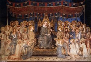 Simone Martini - Maestà ( madonna avec anges et Saints )