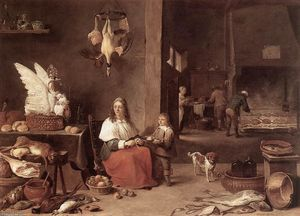 David The Younger Teniers - cuisine scène