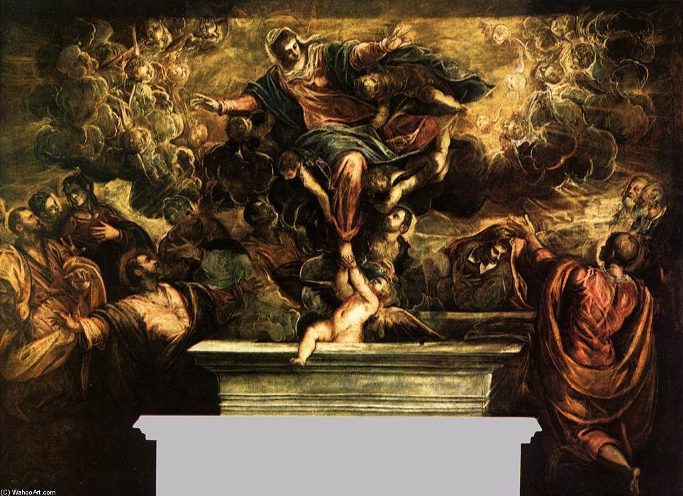 le assumption de l 39 vierge huile sur toile de tintoretto jacopo comin 1518 1594 italy. Black Bedroom Furniture Sets. Home Design Ideas