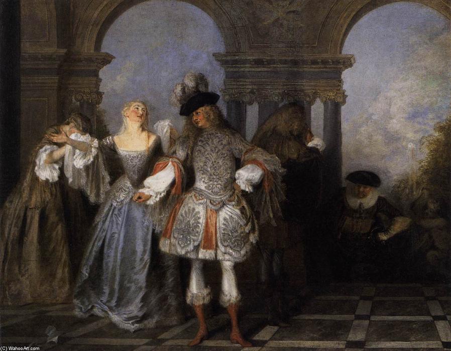 les acteurs de la com die fran aise huile sur toile de jean antoine watteau 1684 1721 france. Black Bedroom Furniture Sets. Home Design Ideas