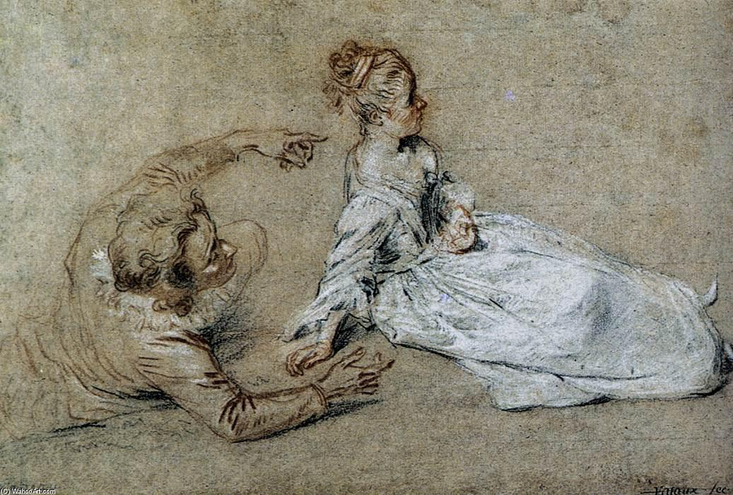 Assis couples, 1716 de Jean Antoine Watteau (1684-1721, France)