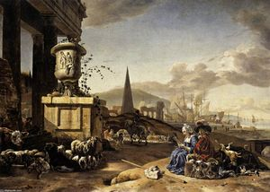 Jan Weenix - Un Seaport italienne