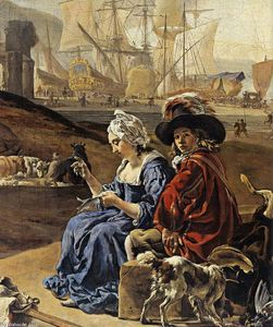 Jan Weenix - Un Seaport italienne (détail)