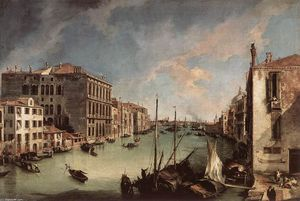 Giovanni Antonio Canal (Canaletto) - Grand Canal, Looking East du Campo San Vio