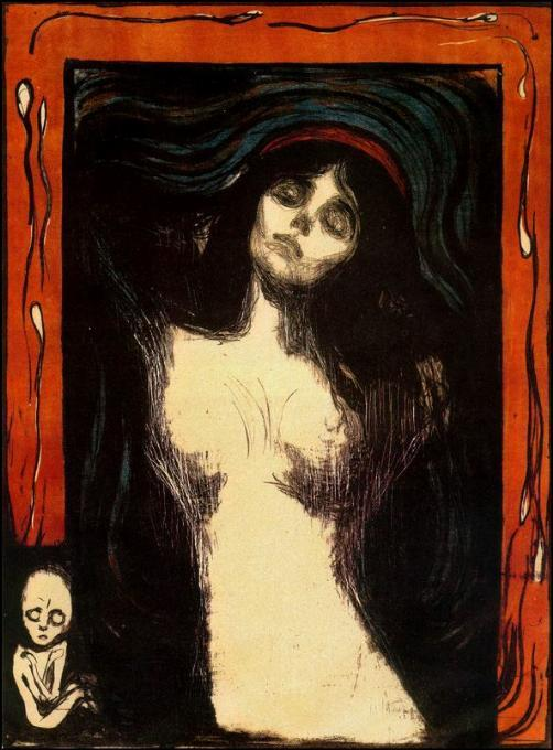 Madone, huile sur toile de Edvard Munch (1863-1944, United Kingdoms Of Sweden And Norway)