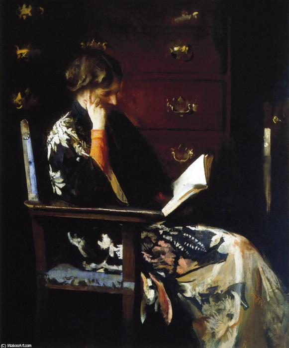 marie lisant , 1915 de Edmund Charles Tarbell (1862-1938, United States) | Reproductions De Peintures Edmund Charles Tarbell | WahooArt.com