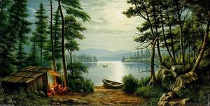Levi Wells Prentice - Moonlight Camping à Schroon Lake