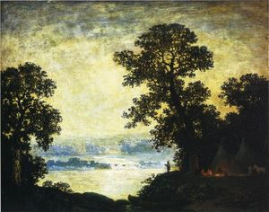 Ralph Albert Blakelock - Moonlight, campement indien