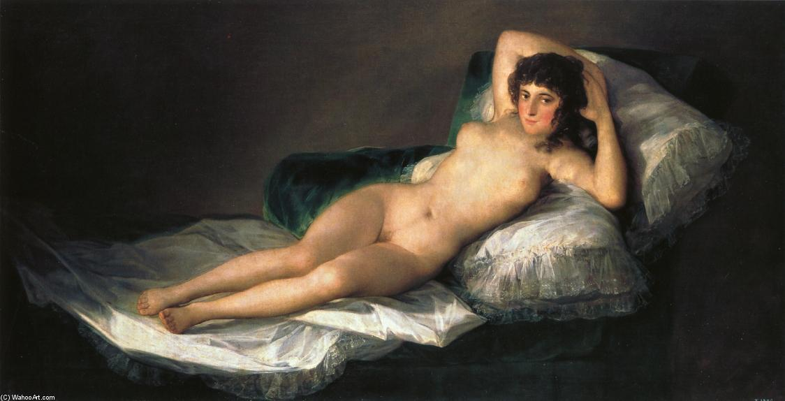 the naked maja, 1798 de Francisco De Goya (1746-1828, Spain) | Reproductions D'art De Musée Francisco De Goya | WahooArt.com