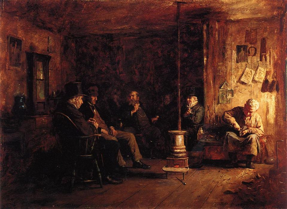 le `nantucket` école de philosophie, 1887 de Jonathan Eastman Johnson (1824-1906, United Kingdom) | Copie Tableau | WahooArt.com