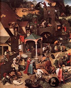 Pieter Bruegel The Elder - Les proverbes flamands (détail)