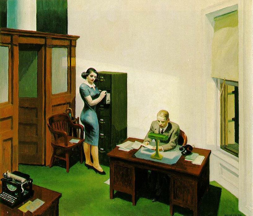 bureau de nuit, 1940 de Edward Hopper (1931-1967, United States) |  | WahooArt.com