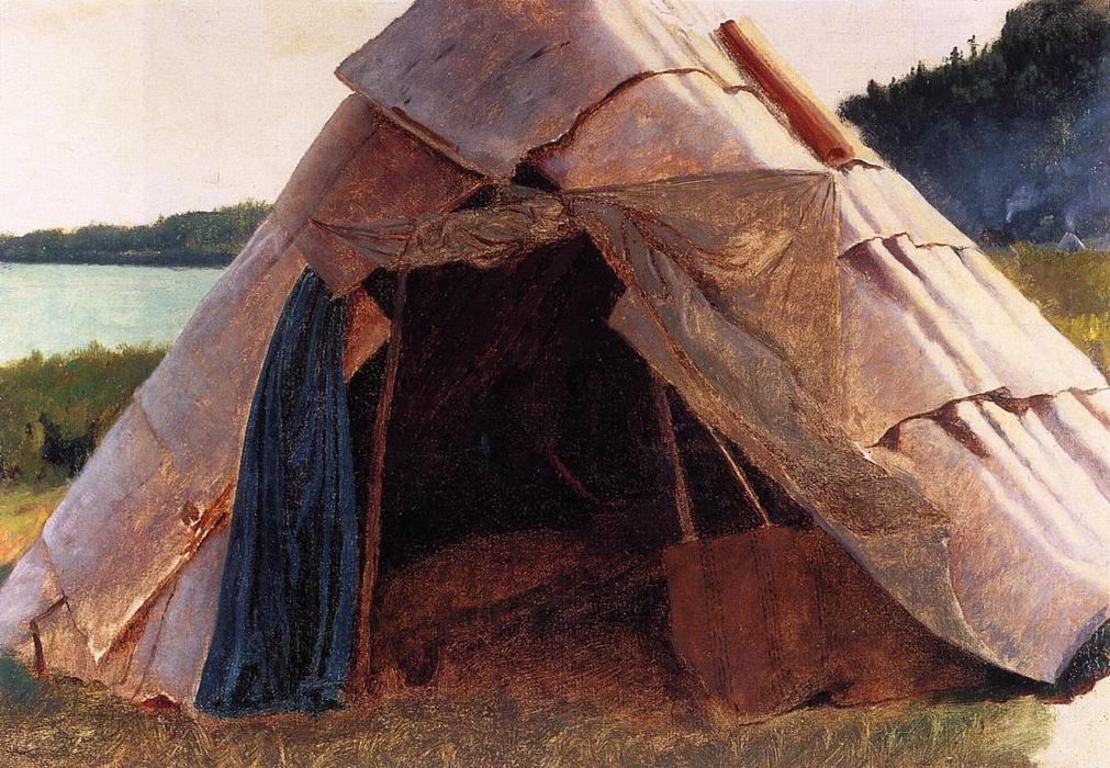 Ojibwe Wigwam à Grand Portage, 1857 de Jonathan Eastman Johnson (1824-1906, United Kingdom) | WahooArt.com