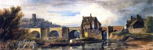 David Cox - l'ancienne pont au Bridgnorth , Shropshire