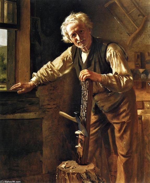The Old Mechanic, huile sur toile de John George Brown (1831-1913, United Kingdom)