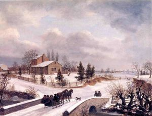 Thomas Birch - pennsylvanie Hivernal  Scène
