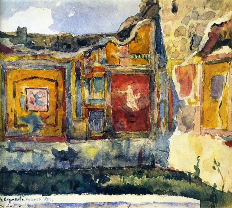 Pompéi. Fresques sur les murs d une maison, aquarelle de Vasili ...