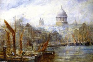 Frederick Mccubbin - The Pool of London ( aussi connu as Péniches , Pool of London )